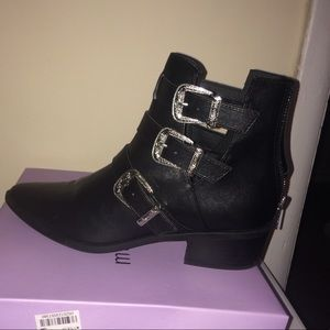 Black Buckle Leather Ankle Boots
